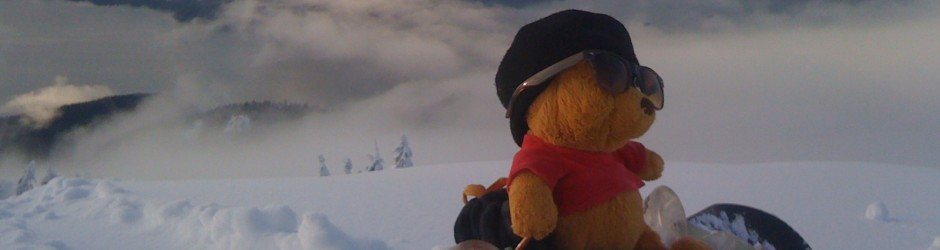 "Winnie (""AND"") the Pooh goes snowboarding as per Beeze's request!"